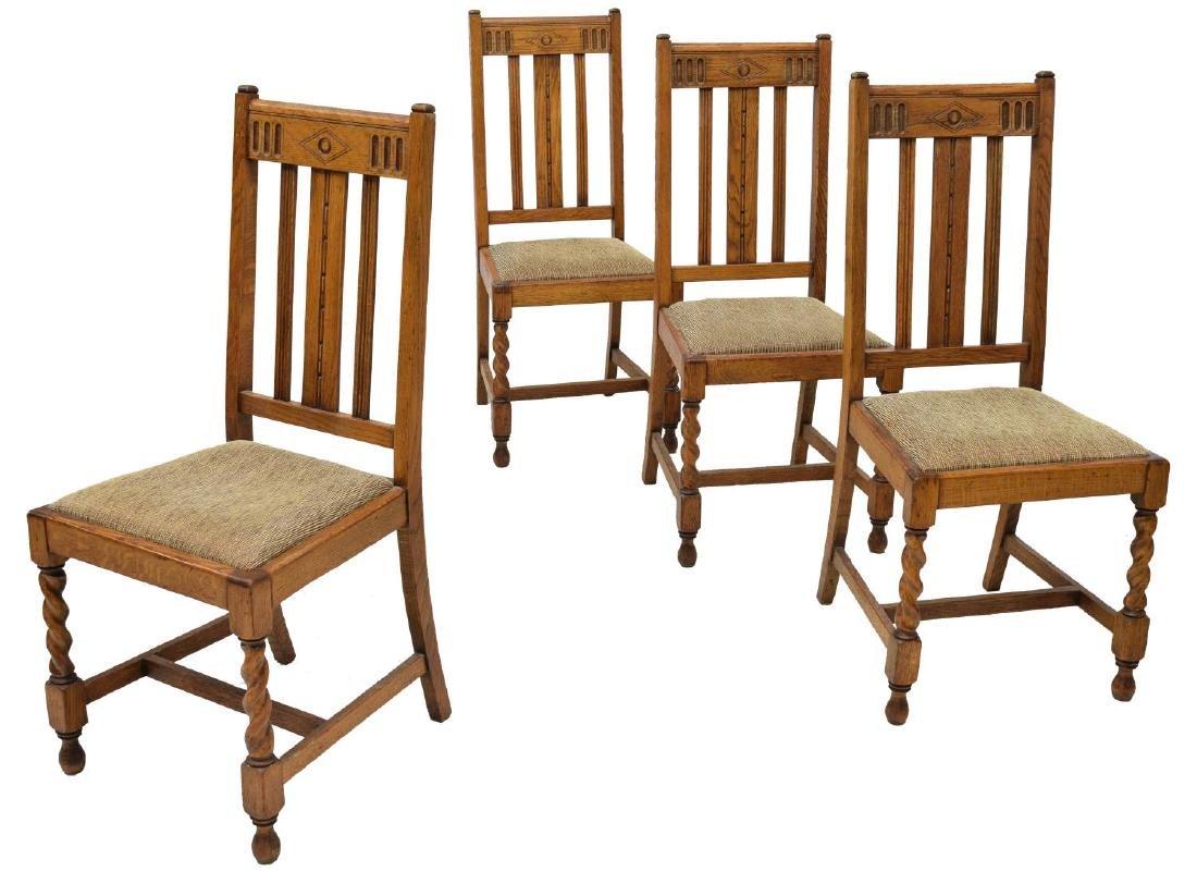 (4) ENGLISH CARVED OAK TWIST LEG DINING CHAIRS
