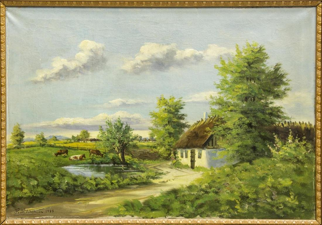 FRAMED OIL PAINTING PASTORAL LANDSCAPE WITH COWS