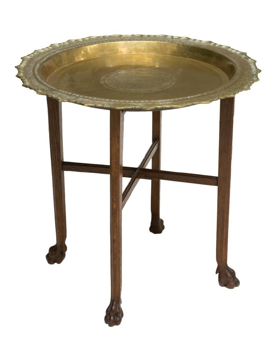 SYRIAN GILT COPPER TOP CLAW FOOT SIDE TABLE