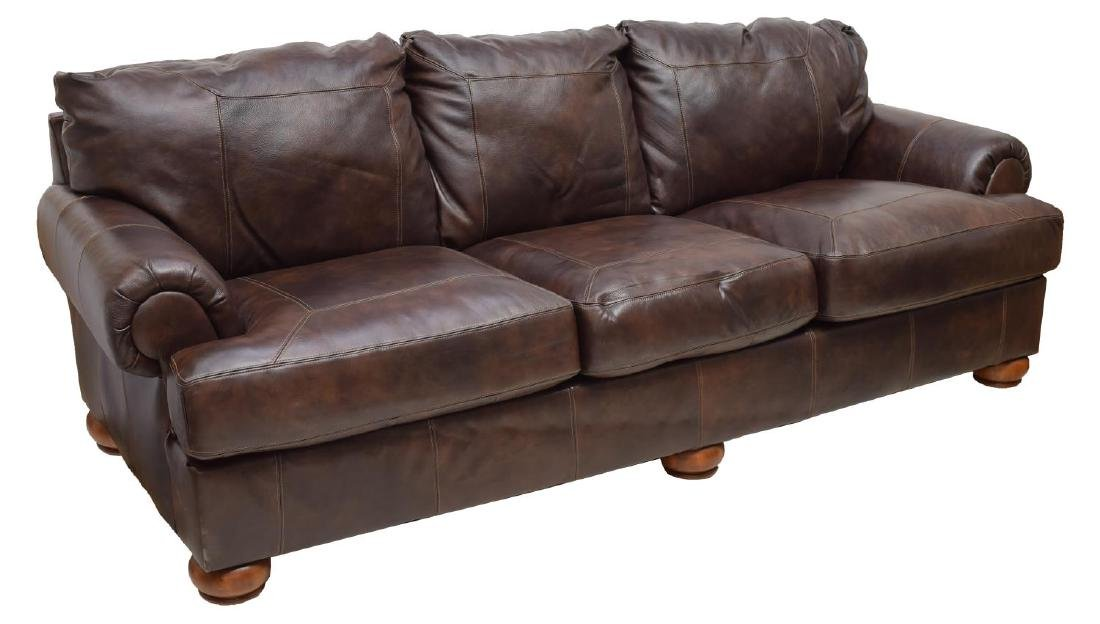 CONTEMPORARY BROWN LEATHER THREE SEAT SOFA