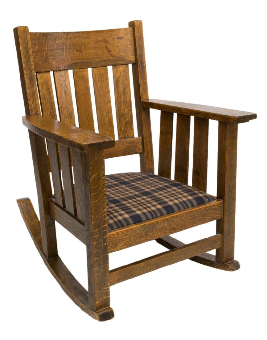 MISSION STYLE OAK ROCKING CHAIR, UPHOLSTERED SEAT