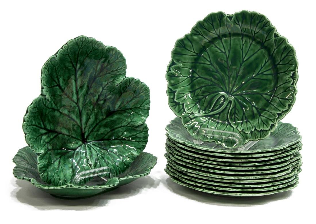 (14) WEDGWOOD MAJOLICA CABBAGE LEAF TABLE ITEMS