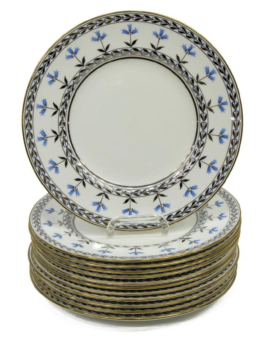 (12) WEDGWOOD SILVER LUSTRE FLORAL SERVICE PLATES