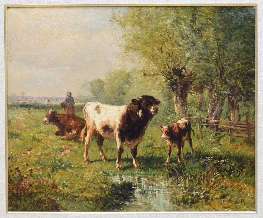 ANTONIO CORTES (SPAIN, D.1908) OIL PAINTING CATTLE