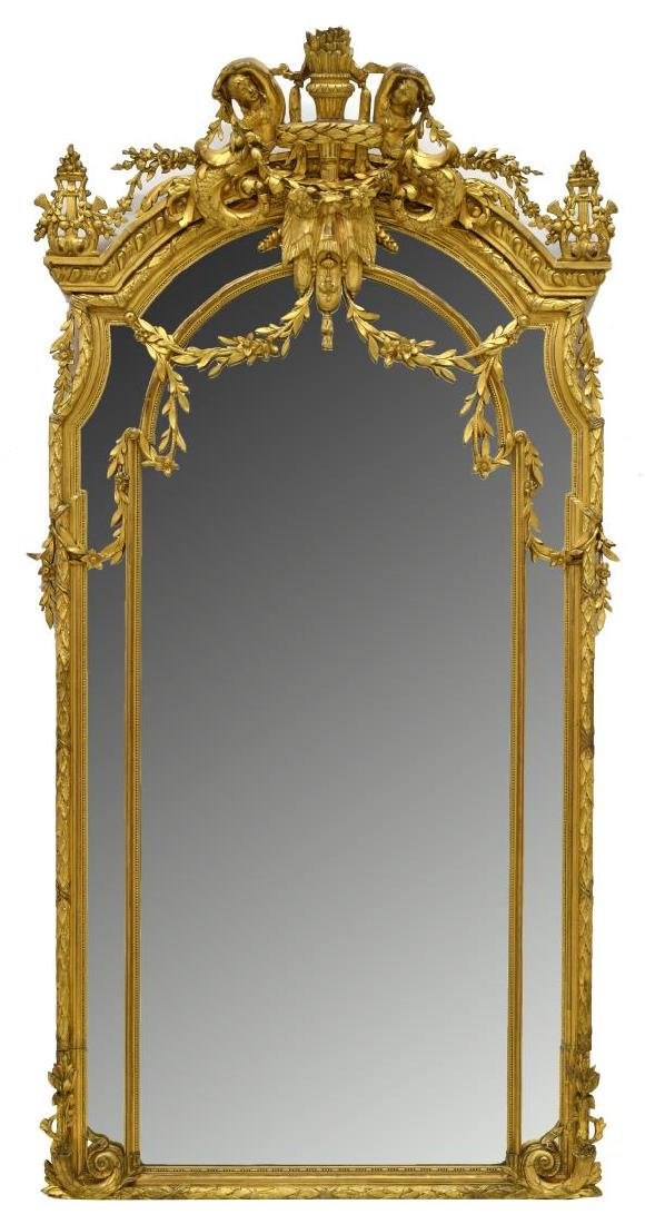 LARGE CONTINENTAL MERMAID GOLD LEAF WALL MIRROR