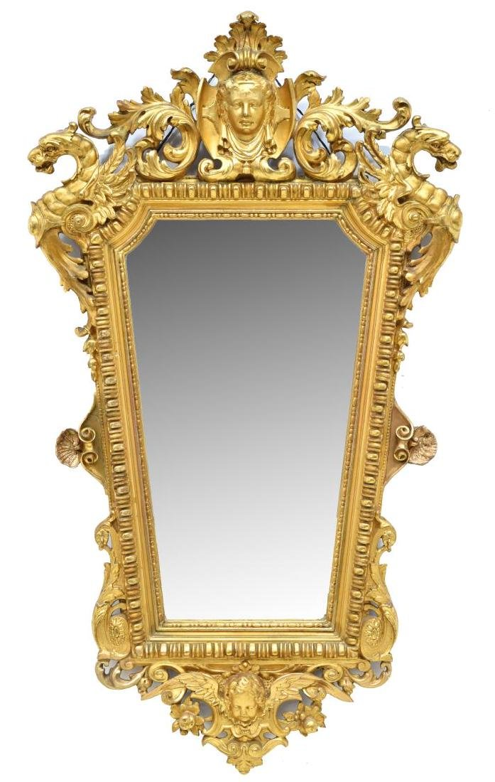 ORNATE RENAISSANCE REVIVAL GOLD LEAF WALL MIRROR