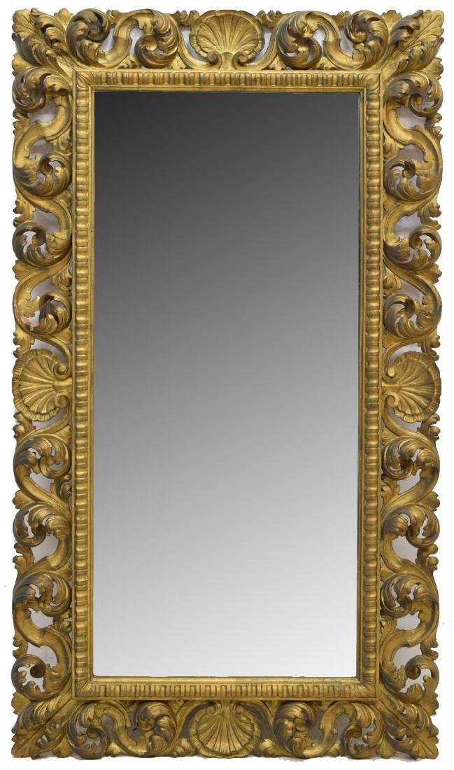 MONUMENTAL ROMAN BAROQUE STYLE CARVED GILT MIRROR