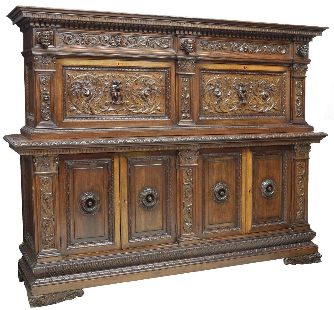 ITALIAN RENAISSANCE REVIVAL WELL CARVED SIDEBOARD