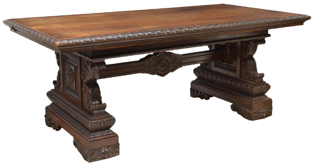 RENAISSANCE REVIVAL HEAVILY CARVED LIBRARY TABLE