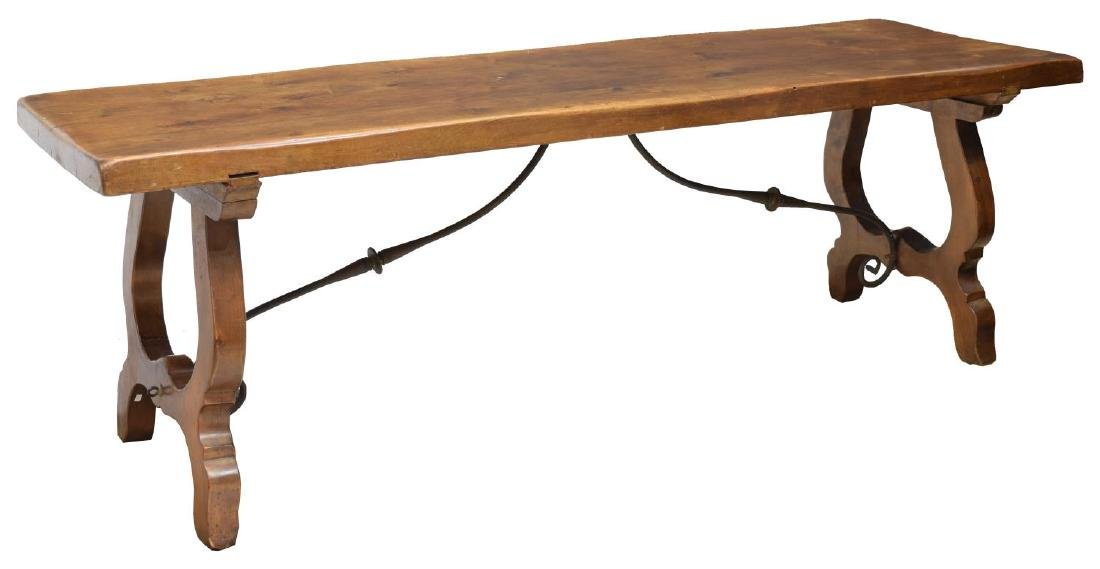 SPANISH CARVED WALNUT IRON STRETCHER DINING TABLE