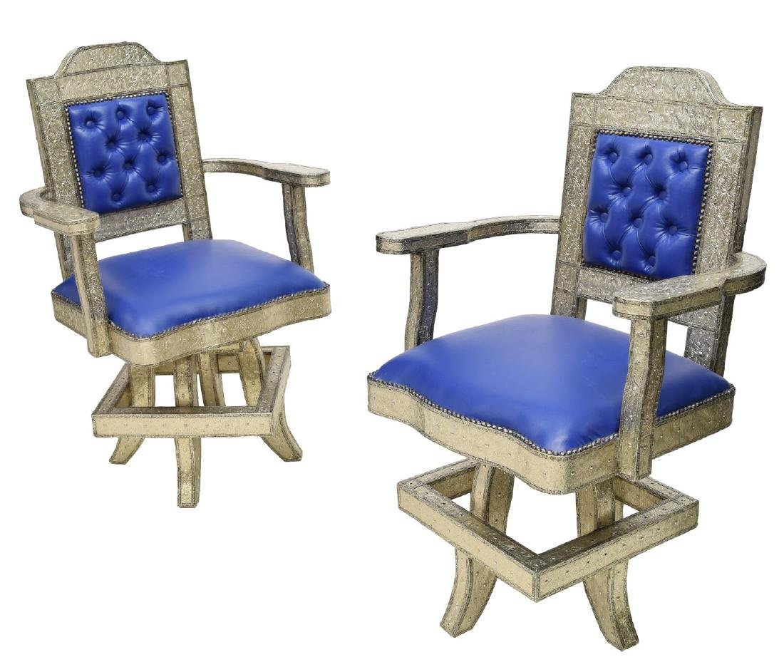 (2) MOROCCAN SILVER TONE METAL CLAD OFFICE CHAIRS