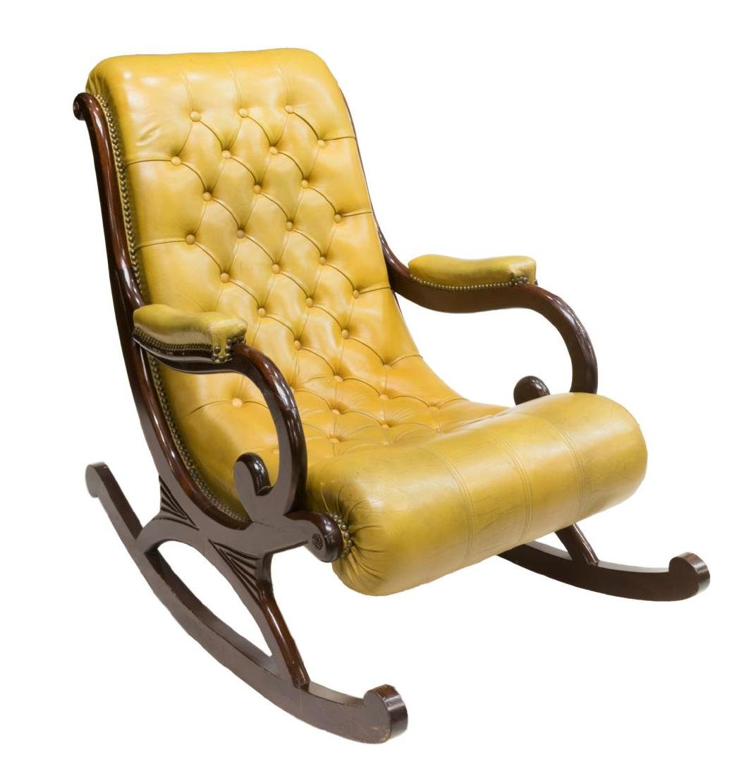 ENGLISH CHESTERFIELD TUFTED LEATHER ROCKING CHAIR