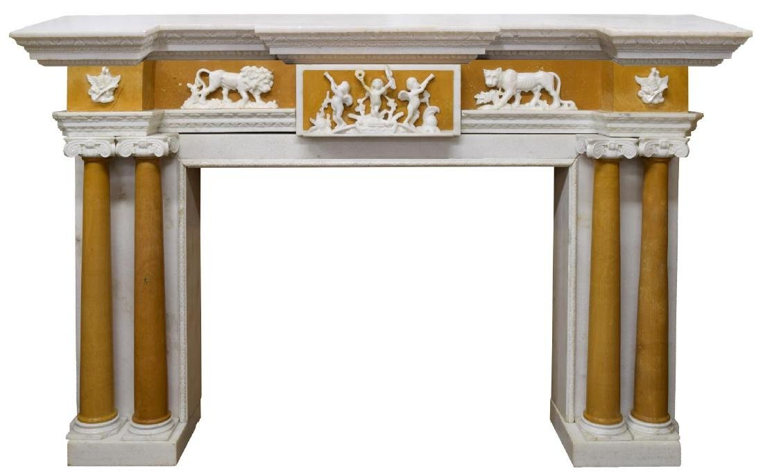 MARBLE & SANDSTONE FIGURAL FIREPLACE SURROUND