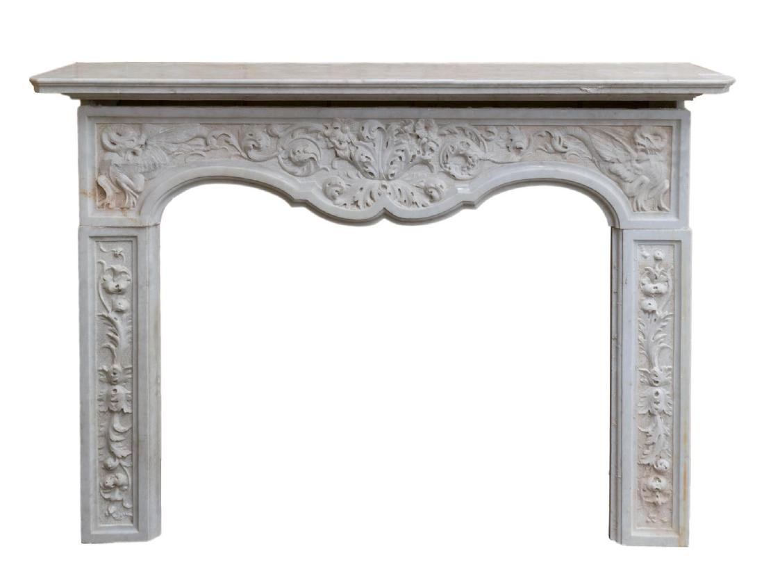 ITALIAN BAROQUE STYLE MARBLE FIREPLACE SURROUND