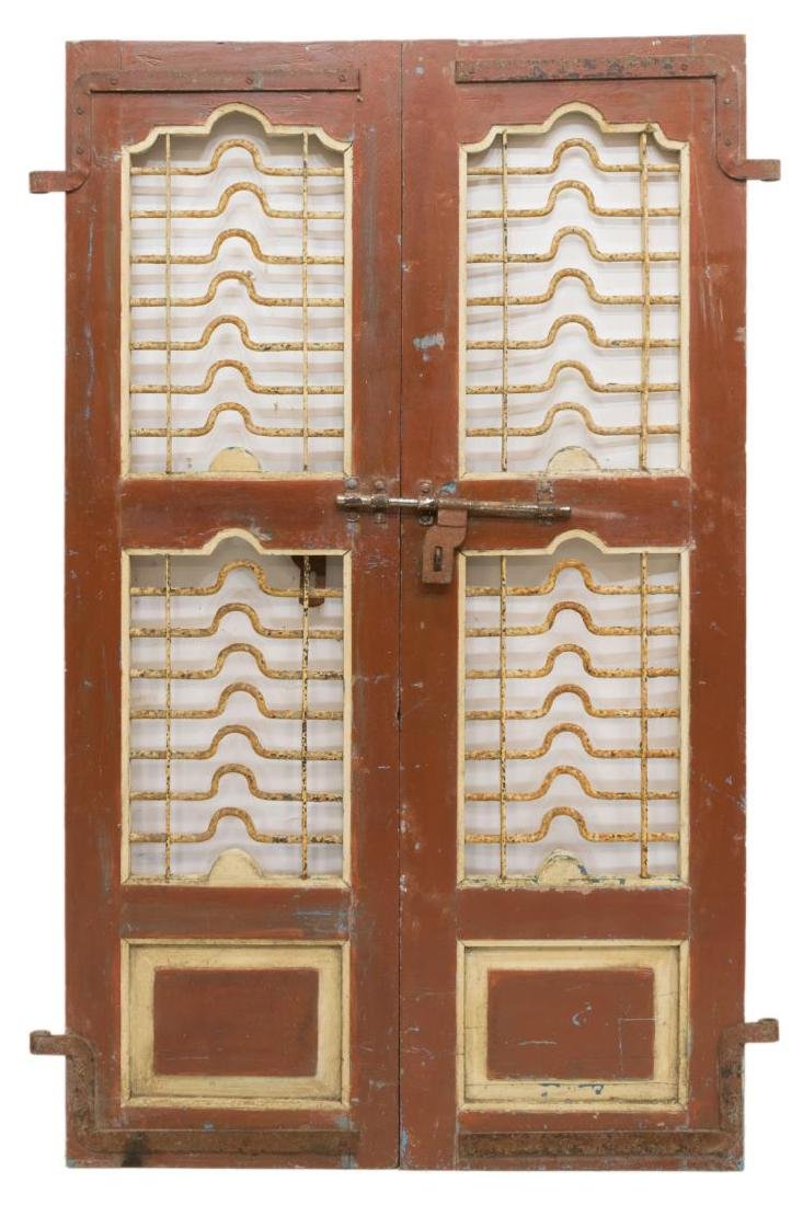 (2) ARCHITECTURAL PAINTED WOOD & IRON WINDOW PANEL