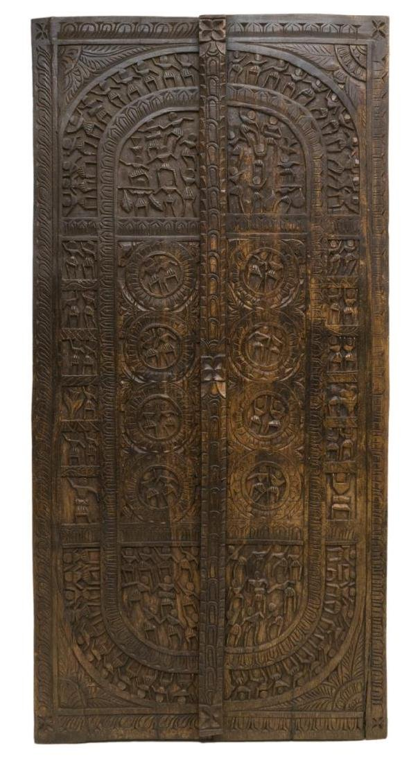 FIGURAL RELIEF CARVED TEAKWOOD ARCHITECTURAL PANEL