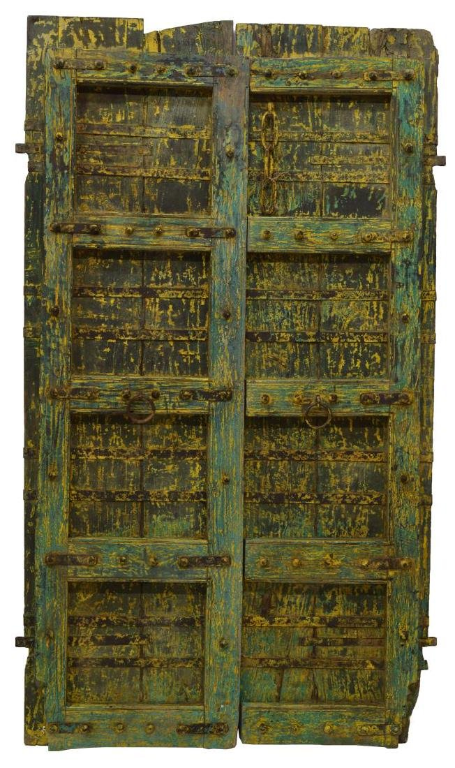 (2) ARCHITECTURAL PAINTED WOOD & IRON DOORS, INDIA