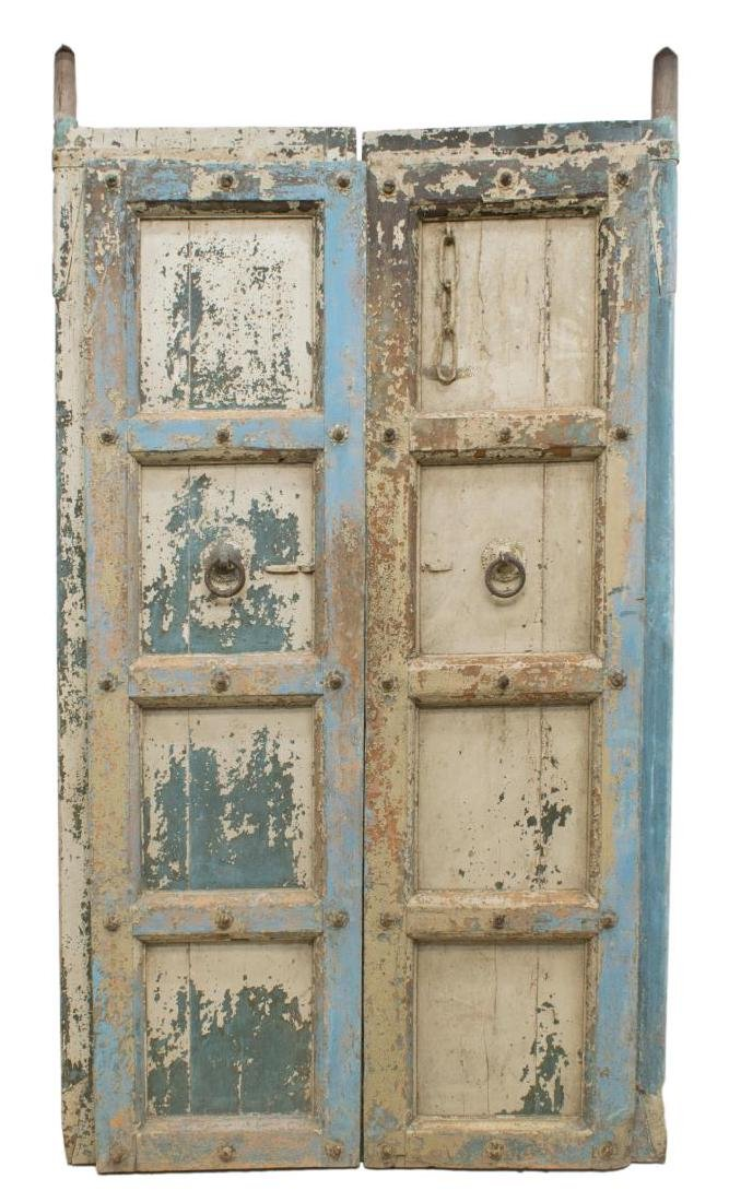 (2) ANGLO-INDIAN ARCHITECTURAL PAINTED WOOD DOORS