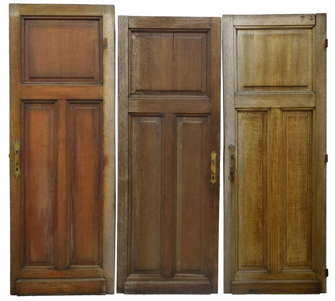 (3) FRENCH ARCHITECTURAL OAK WOOD DOORS