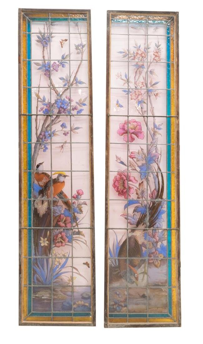 2) ARCHITECTURAL STAINED & LEADED WINDOW PANELS