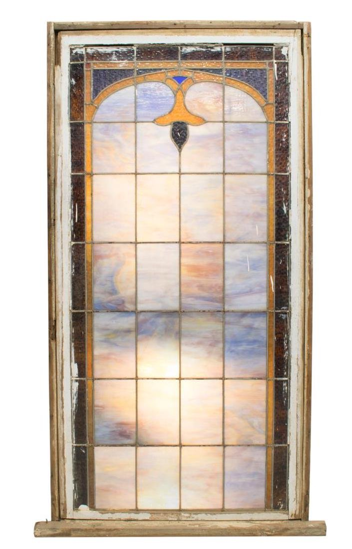 FRAMED STAINED & LEADED GLASS ARCHITECTURAL WINDOW