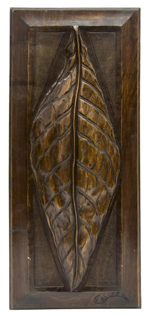 CONTINENTAL RELIEF CARVED WOOD PANEL, LEAF