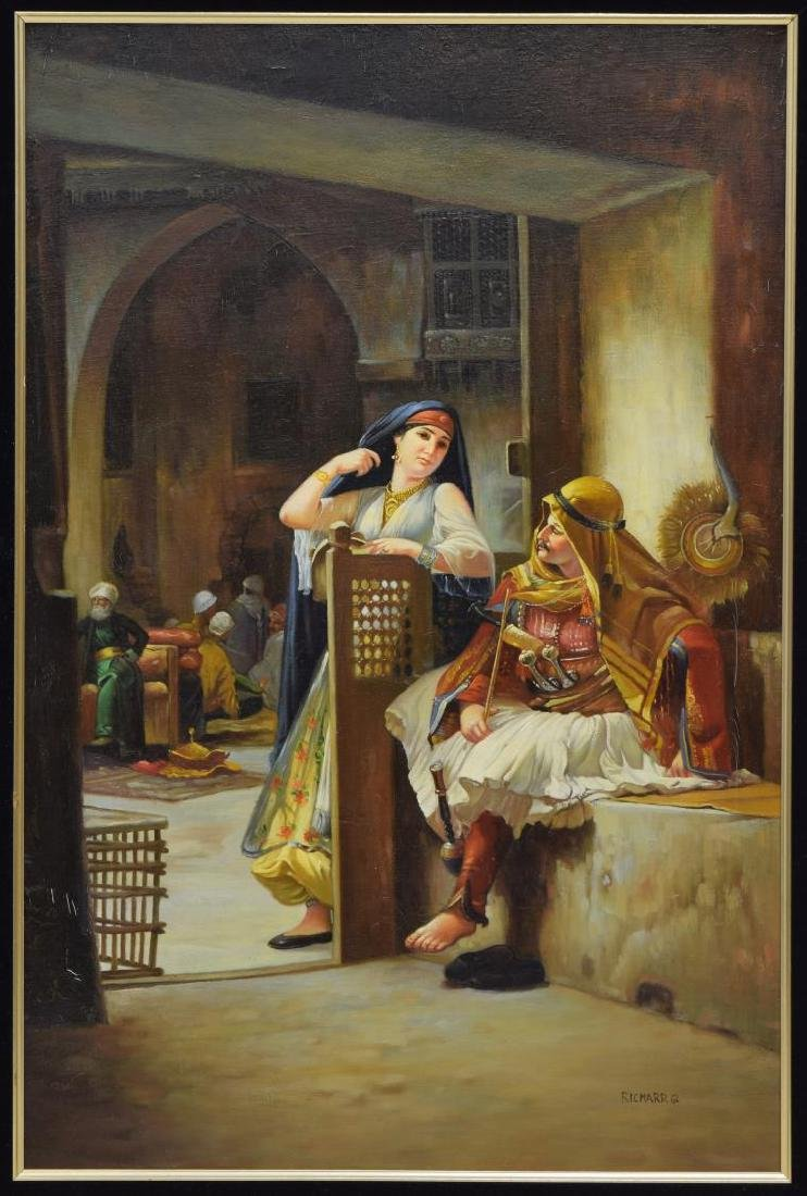 DECORATIVE FRAMED ORIENTALIST OIL PAINTING