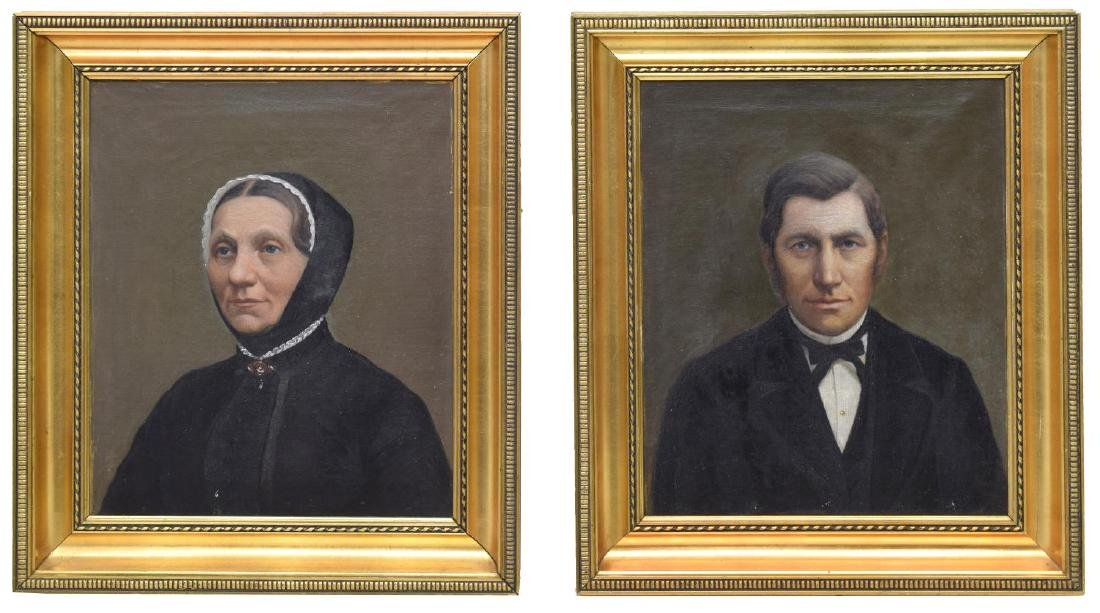 (2) OIL PAINTINGS PORTRAITS OF A MAN & WOMAN