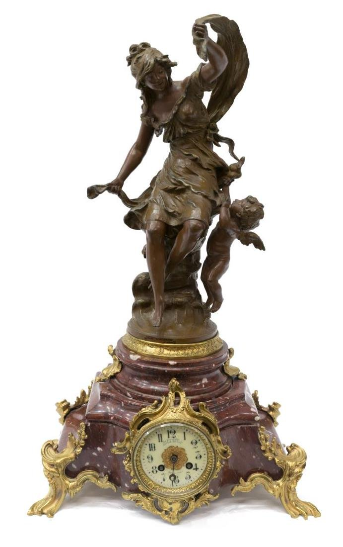 FRENCH S. MARTI FIGURAL MARBLE MANTEL CLOCK