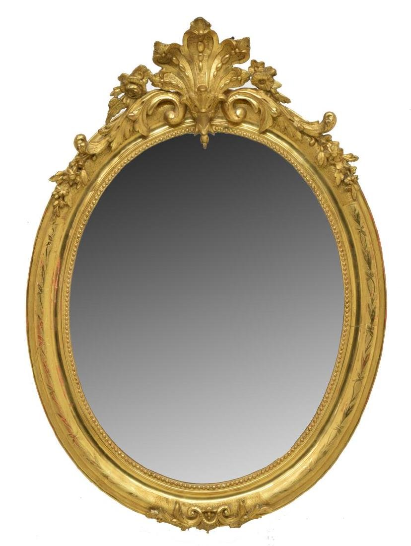 LOUIS PHILIPPE PIERCED & CARVED GILT WALL MIRROR