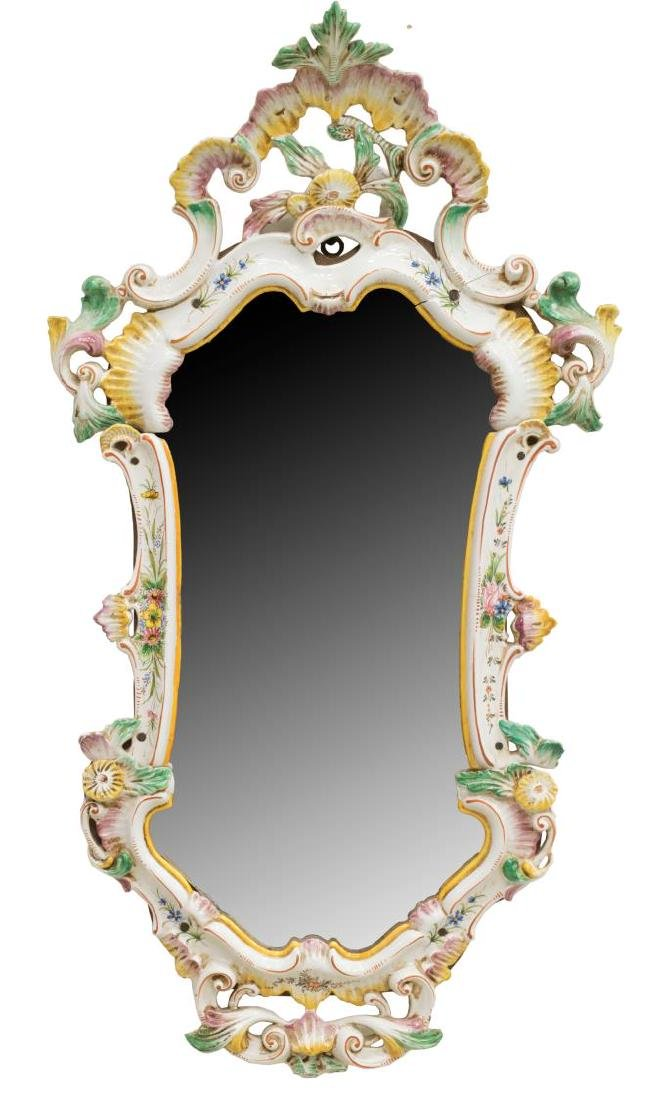 ITALIAN PAINTED PORCELAIN WALL MIRROR
