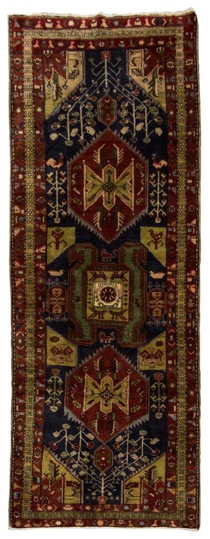 HAND-TIED PERSIAN SERAPI WOOL RUG, 10' x 3'6""