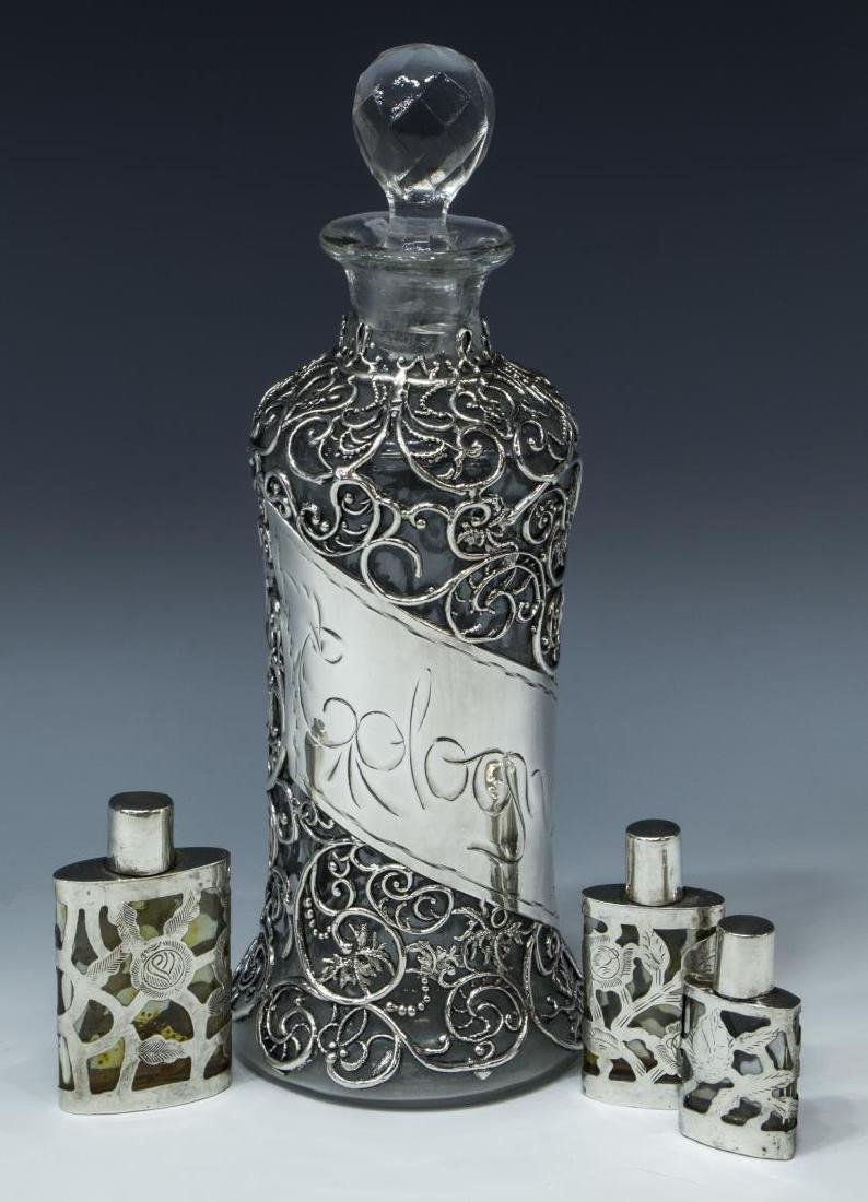 (4) GLASS SCENT BOTTLES W/ STERLING SILVER OVERLAY
