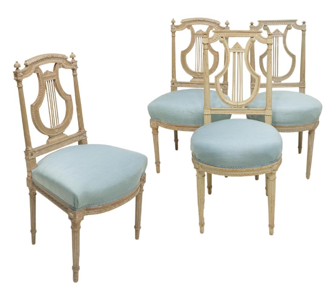 (4) ITALIAN PAINTED WOOD DINING CHAIRS, LYRE BACK