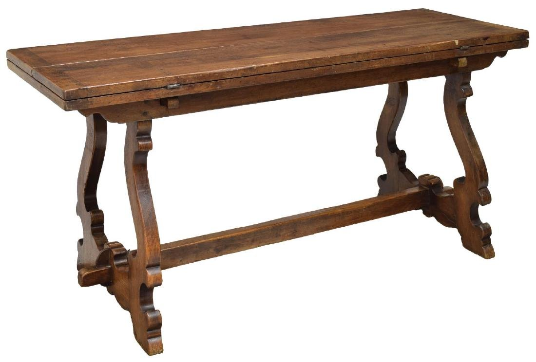 ITALIAN CARVED OAK FOLD OUT LEAVES DINING TABLE