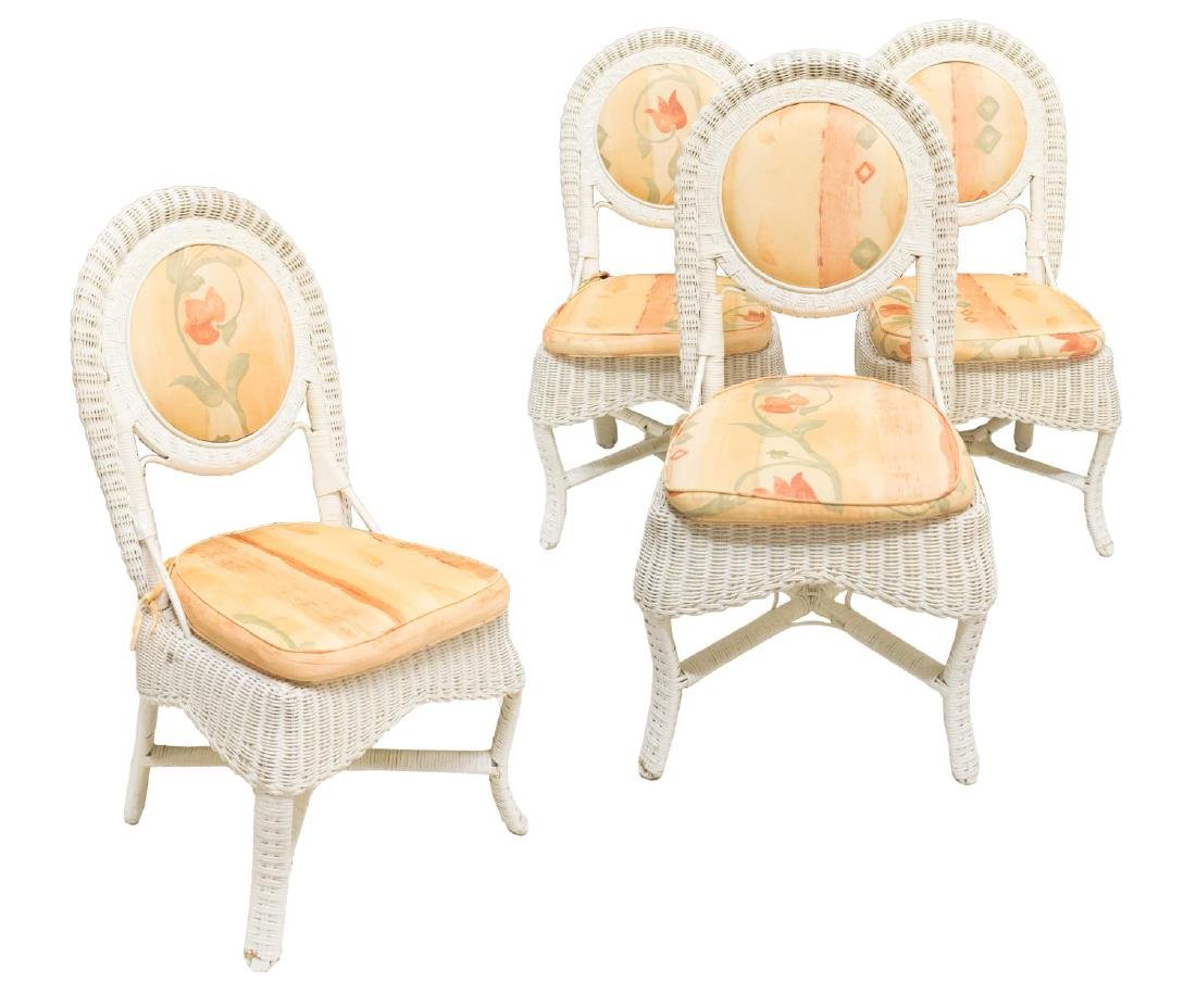 (4) ITALIAN WHITE WICKER UPHOLSTERED SIDE CHAIRS