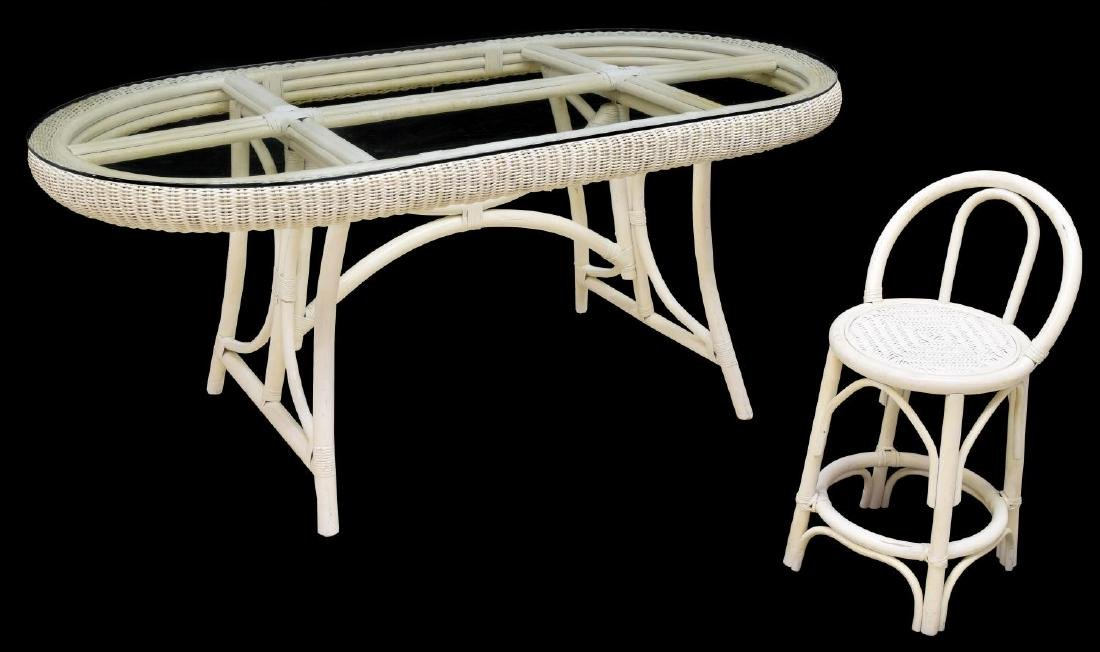 (2) ITALIAN WHITE WICKER GLASS TOP TABLE & CHAIR