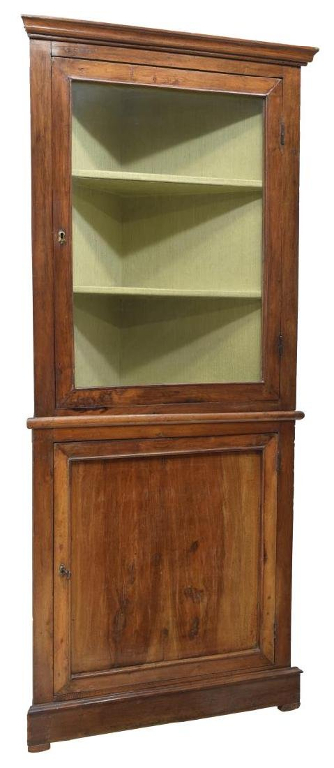 ITALIAN WALNUT GLASS DOOR CORNER CABINET