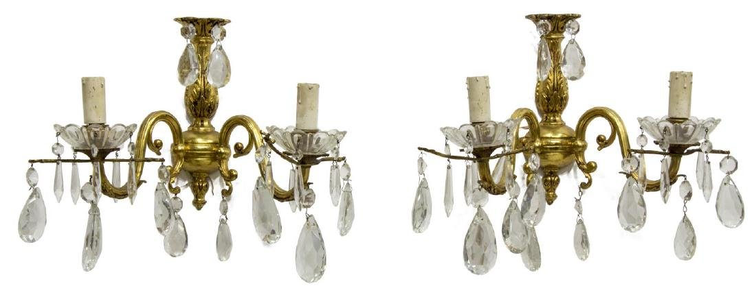 (PAIR) ITALIAN GILT BRONZE 2-LIGHT WALL SCONCES