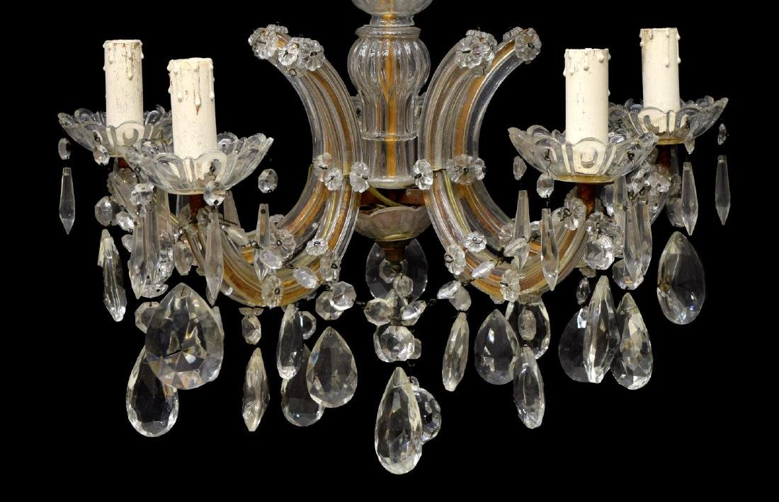 ITALIAN MARIA THERESA 5 LIGHT GLASS CHANDELIER