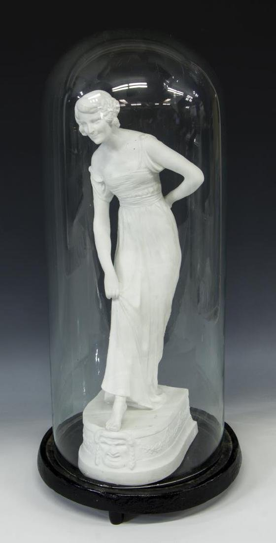 FRENCH PARIAN FIGURE OF A BEAUTY IN GLASS DOME