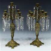 2 ANTIQUE GILT METAL  STONE PRISM CANDLEABRA