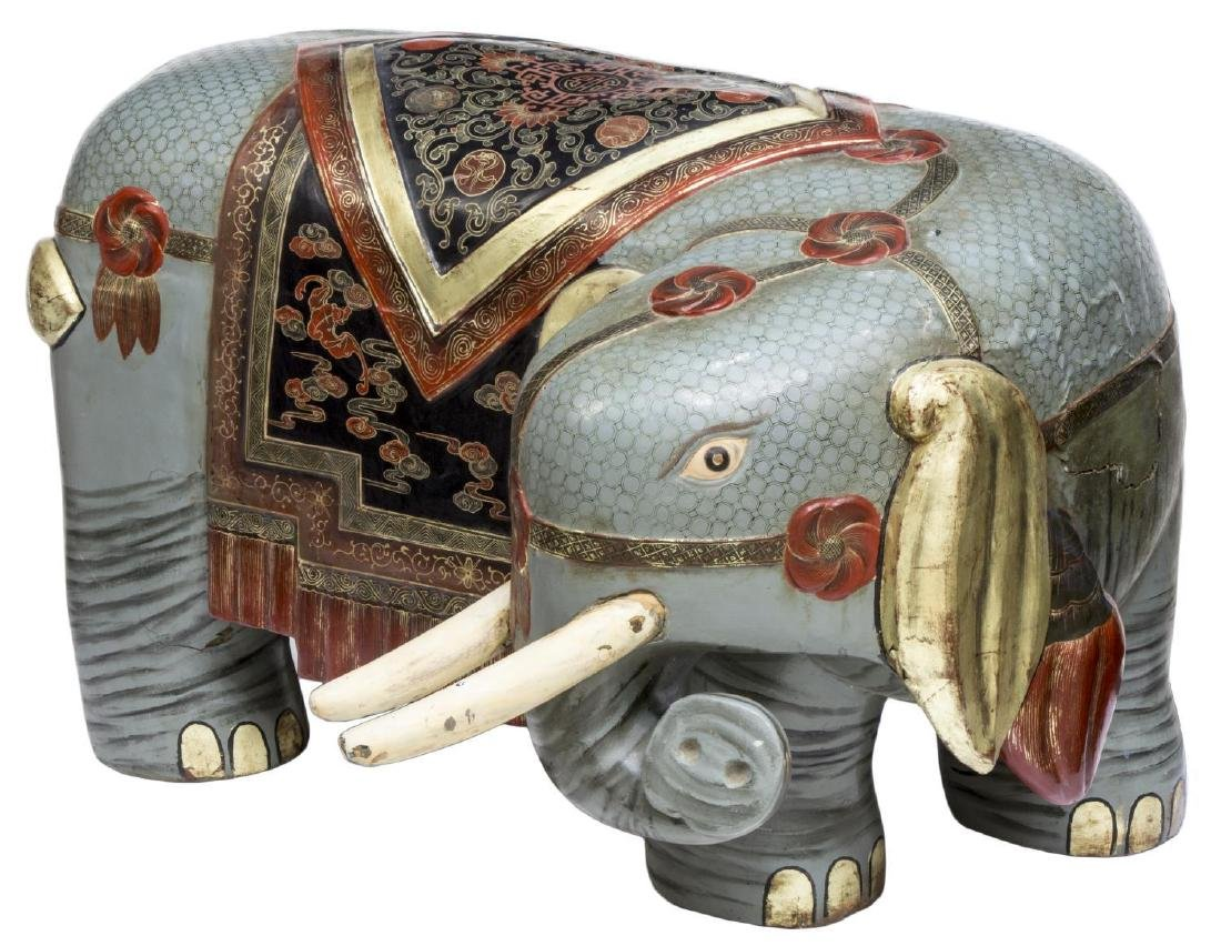CHINESE PAINTED POLYCHROME WOOD ELEPHANT