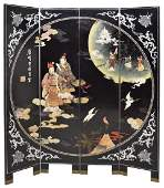 CHINESE 4-PANEL LACQUER & MOP INLAID WALL SCREEN
