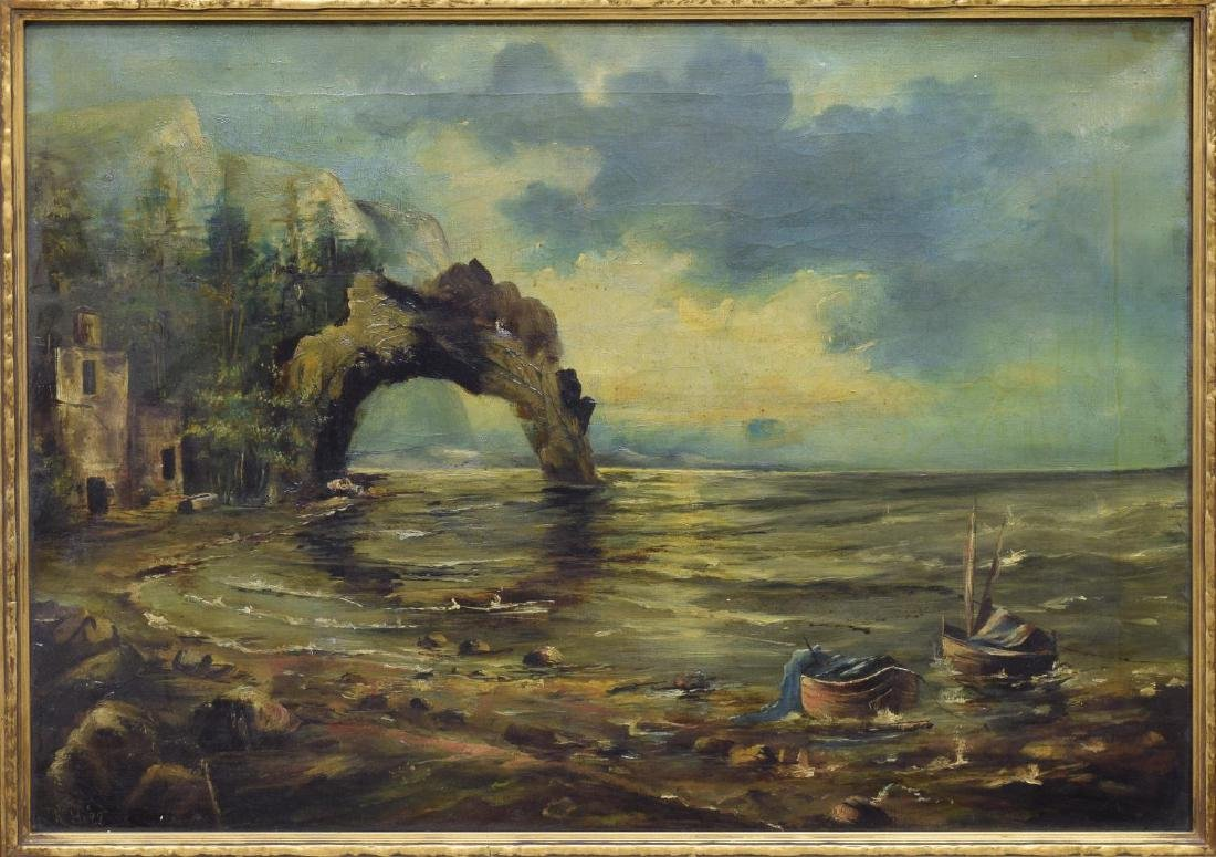 FRAMED OIL ON CANVAS SEASCAPE PAINTING, SIGNED