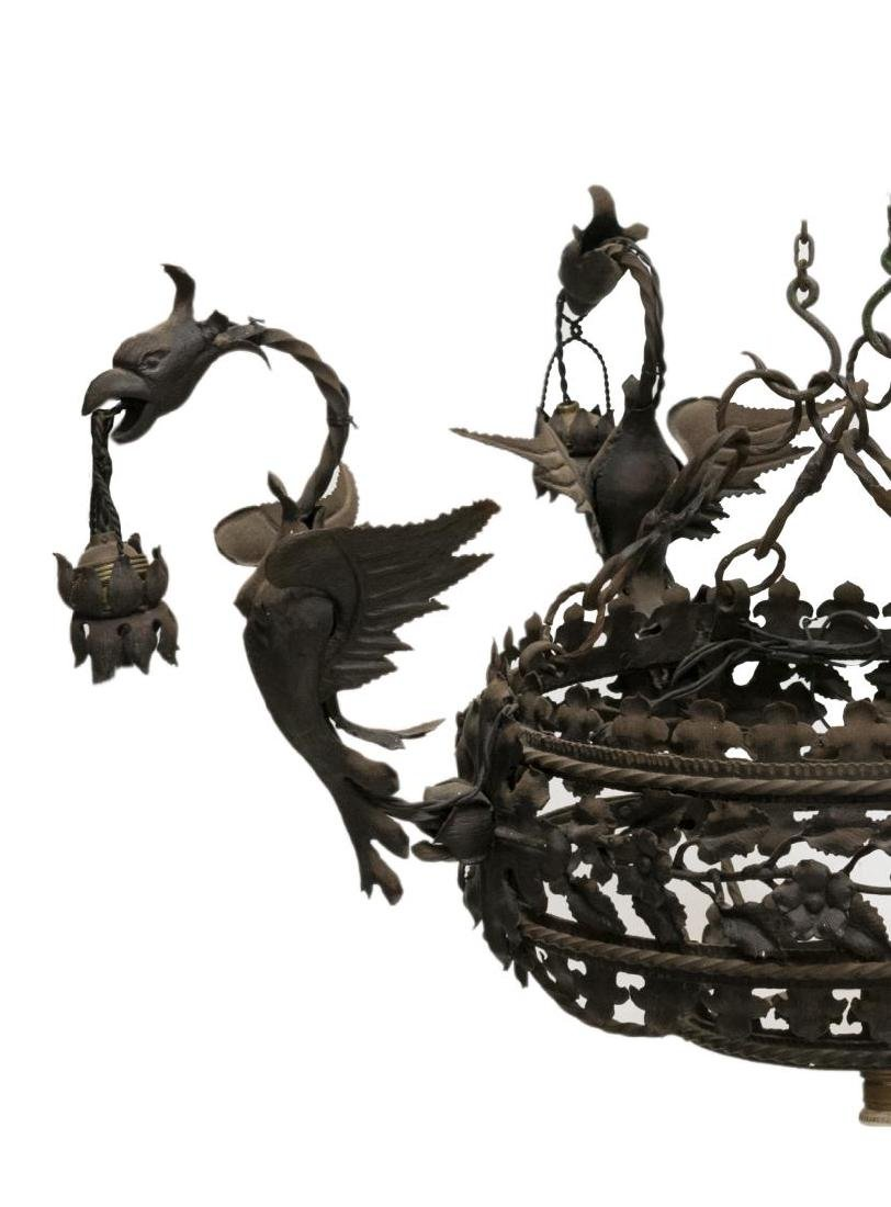 ITALIAN WROUGHT IRON GRIFFIN 5LT CHANDELIER