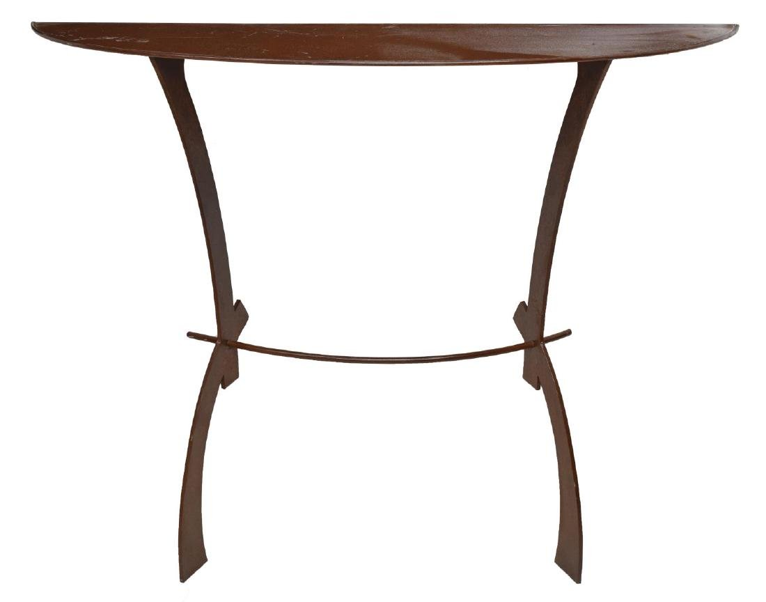 ITALIAN MODERN WROUGHT IRON DEMILUNE CONSOLE TABLE