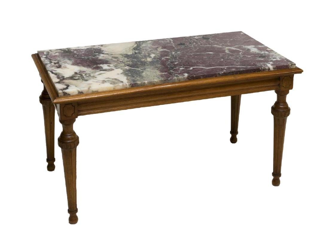LOUIS XVI STYLE MARBLE-TOP WALNUT COFFEE TABLE