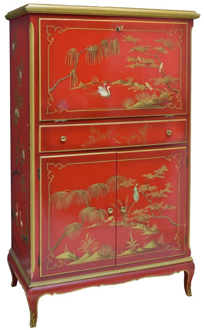 ITALIAN CHINOISERIE RED LACQUER BAR CABINET