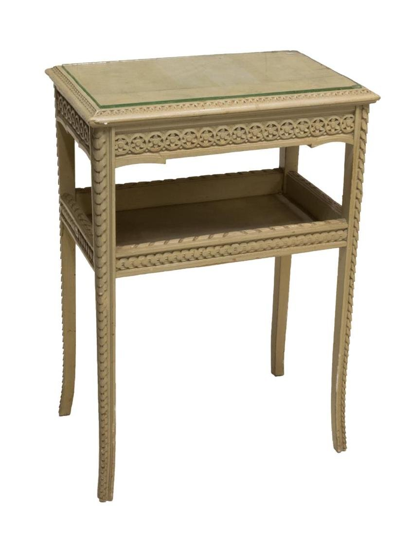 LOUIS XVI STYLE PAINTED WOOD GLASS TOP SIDE TABLE